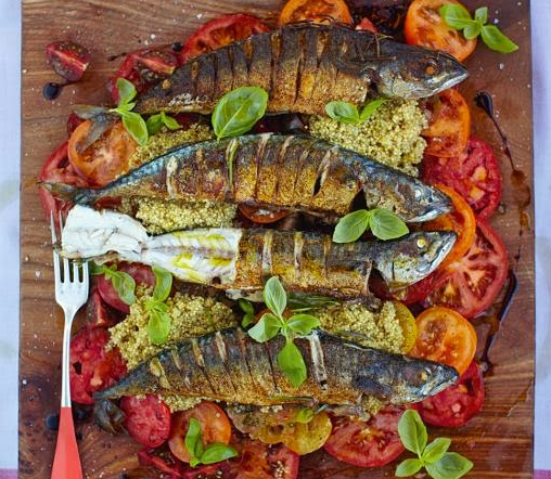 Mighty mackerel with mixed tomato & quinoa salad